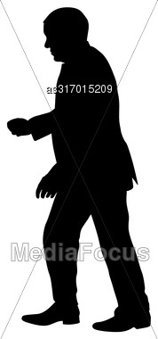 Silhouette Of A Man With His Hand Raised. Vector Illustration Stock Photo