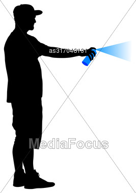 Silhouette Man Holding A Spray On A White Background. Vector Illustration Stock Photo