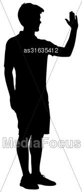 Silhouette Man Raised His Left Hand Up. Vector Illustration Stock Photo