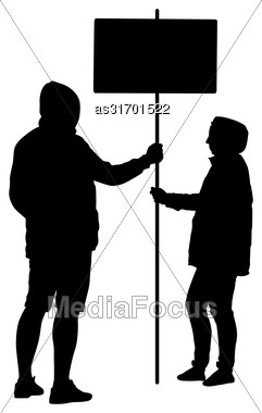 Silhouette Man And Woman Hold Banner On A Pole, Vector Illustration Stock Photo