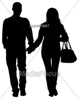 Silhouette Man And Woman Walking Hand In Hand Stock Photo