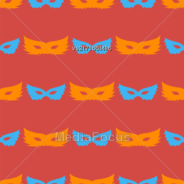 Silhouette Of Masks Seamless Pattern. Symbol Of Masquerade Stock Photo