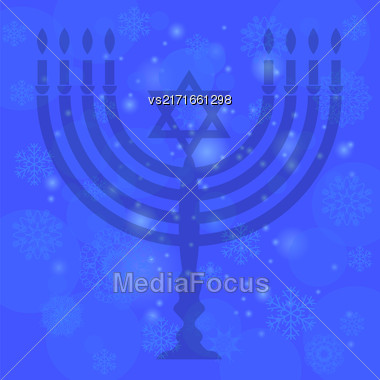 Silhouette Of Menorah Isolated On Blue Sky Background. Snow Flake Pattern. Symbol Of Hanukkah Stock Photo