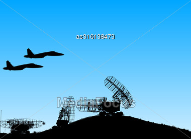 Silhouette Military Radar Dish. Vector Illustration Stock Photo