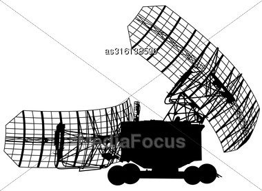 Silhouette Military Radar Dish. Vector Illustration Stock Photo