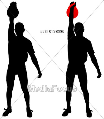 Silhouette Muscular Man Holding Kettle Bell. Vector Illustration Stock Photo