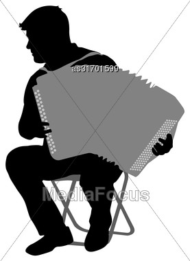 Silhouette Musician, Accordion Player On White Background, Vector Illustration Stock Photo