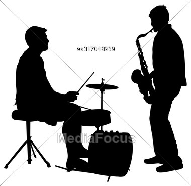 Silhouette Musician Drummer On White Background, Vector Illustration Stock Photo