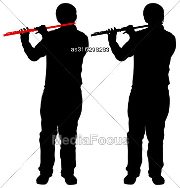 Silhouette Of Musician Playing The Flute. Vector Illustration Stock Photo