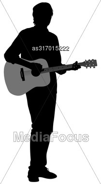 Silhouette Musician Plays The Guitar. Vector Illustration Stock Photo