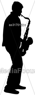 Silhouette Musician, Saxophonist Player On White Background, Vector Illustration Stock Photo