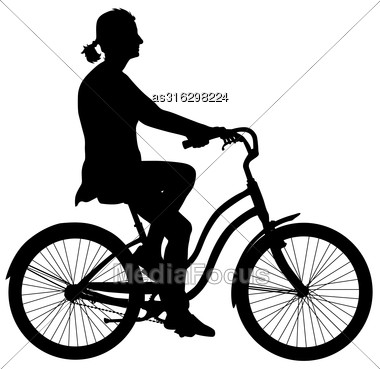 Silhouette Of A Cyclist Girl. Vector Illustration Stock Photo