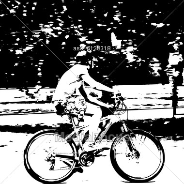 Silhouette Of A Cyclist Male. Vector Illustration Stock Photo
