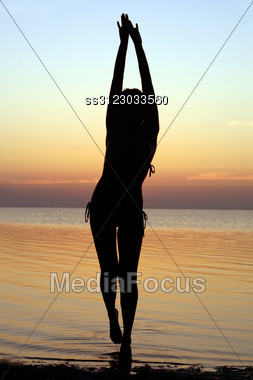 Silhouette Of A Girl Standing In Water Stock Photo