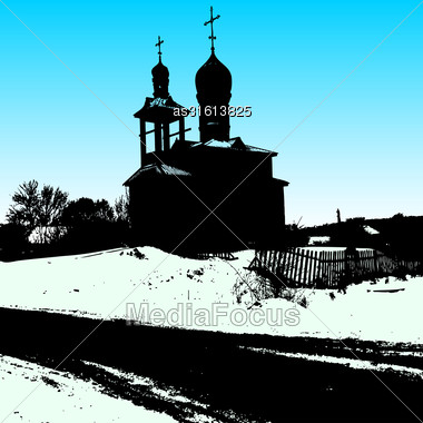 Silhouette Of The Old Church. Vector Illustration Stock Photo