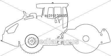 Silhouette Of A Road Roller. Vector Illustration Stock Photo