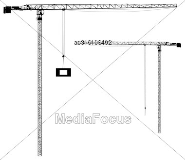 Silhouette On The Construction Cranes. Vector Illustration Stock Photo