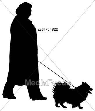 Silhouette Of People And Dog. Vector Illustration Stock Photo