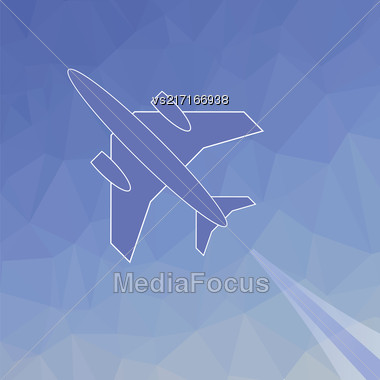 Silhouette Of Plane. Blue Plane Flies Up On Blue Polygonal Background Stock Photo