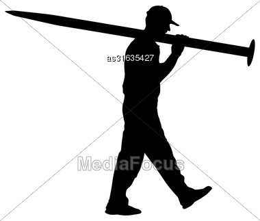Silhouette Porter Carrying The Large Nail In His Hands, Vector Illustration Stock Photo