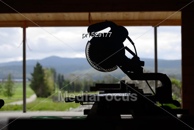 Silhouette Of Saw Bench On A Construction Site Stock Photo