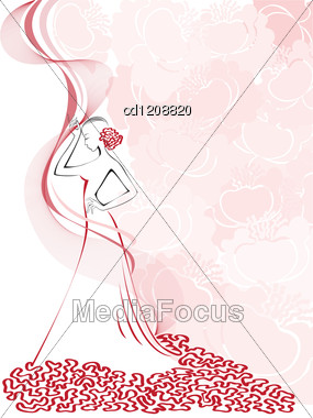 Silhouette Of A Slender Woman In A Pink Floral Whirlwind Stock Photo