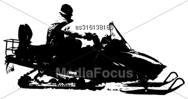 Silhouette Snowmobile On White Background. Vector Illustration Stock Photo