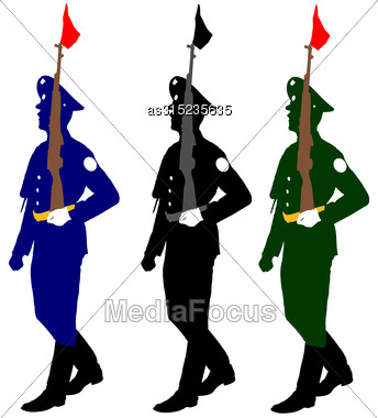 Silhouette Soldiers During A Military Parade. Vector Illustration Stock Photo