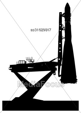 Silhouette Space Ship Before The Launch Into Orbit. Vector Illustration Stock Photo