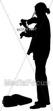 Silhouette Street Violinist On White Background. Vector Illustration Stock Photo