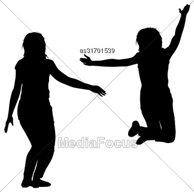 Silhouette Of Three Young Girls Jumping With Hands Up, Motion. Vector Illustration Stock Photo