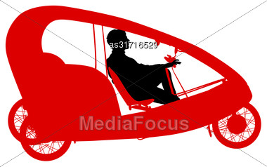 Silhouette Of A Tricycle Male On White Background Stock Photo