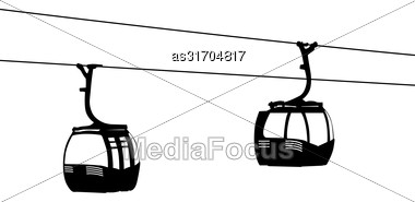 Silhouette Of Two Air Cable Cabins Vector Illustration Stock Photo