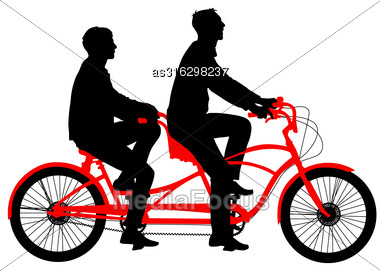 Silhouette Of Two Athletes On Tandem Bicycle. Vector Illustration Stock Photo