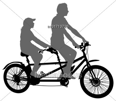 Silhouette Of Two Athletes On Tandem Bicycle On White Background Stock Photo