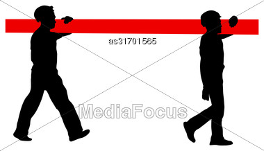 Silhouette Of Two Construction Workers Carry Pipe. Vector Illustration Stock Photo