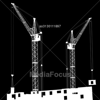Silhouette Of Two Cranes Working On The Building On A Black Background Stock Photo