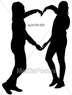 Silhouette Two Girls Holding Hands In Heart Shape, Vector Illustration Stock Photo