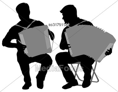 Silhouette Of Two Musicians Bayan On White Background, Vector Illustration Stock Photo