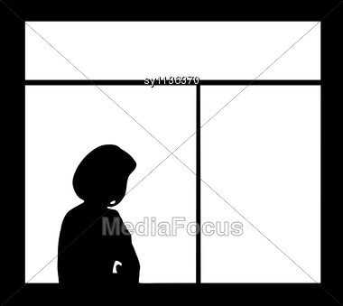 Silhouette Of The Woman Against Window Stock Photo