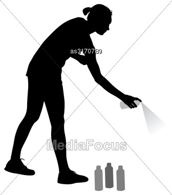 Silhouette Woman Holding A Spray On A White Background. Vector Illustration Stock Photo