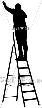 Silhouette Worker Climbing The Ladder. Vector Illustration Stock Photo