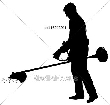 Silhouette Worker Of A Garden Cuts Off Grass. Vector Illustration Stock Photo