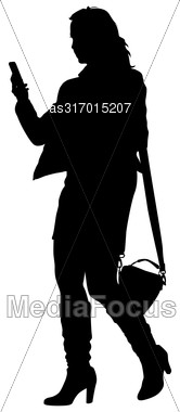 Silhouette Young Girl With Handbag Standing. Vector Illustration Stock Photo