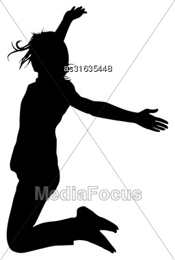 Silhouette Young Girl Jumping With Hands Up, Motion. Vector Illustration Stock Photo