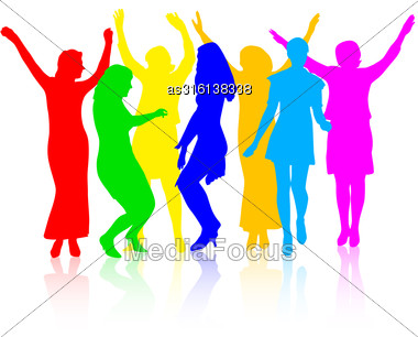 Silhouettes Of Beautiful Womans On White Background. Vector Illustration Stock Photo