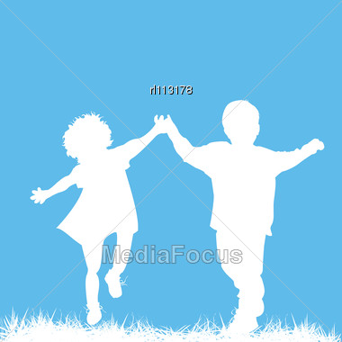 Silhouettes Of A Boy And A Girl Running, Abstract Art Card With Room For Your Text Stock Photo