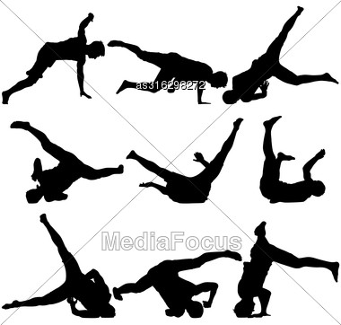 Silhouettes Breakdancer On A White Background. Vector Illustration Stock Photo