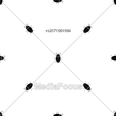 Silhouettes Of Bugs Seamless Pattern. Virus Concept Bckground Stock Photo
