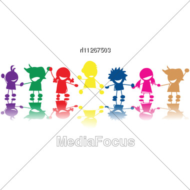 Silhouettes Of Children In Colors And Races Holding Hands Stock Photo